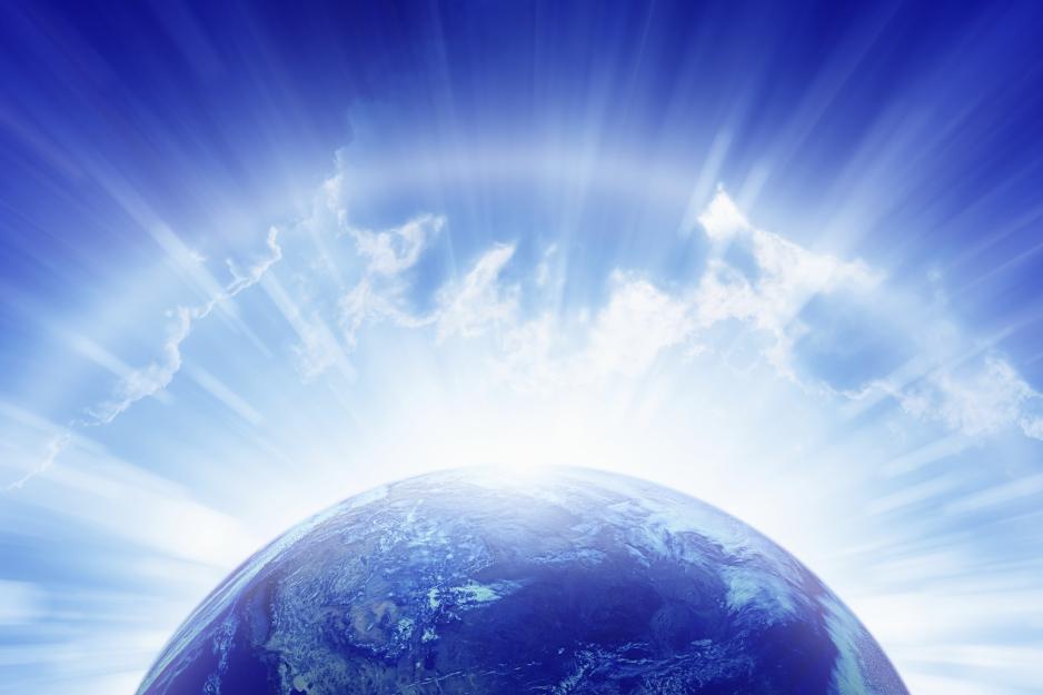 Planet Earth, bright sun, heaven